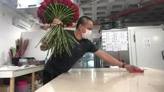 100 red rose 🌹 bouquet 💐 easy way Techniques tutorials 👌🏼 #FloristDesigner