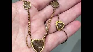 Antique Georgian fossilised coral heart necklace in 18-carat gold, circa 1780
