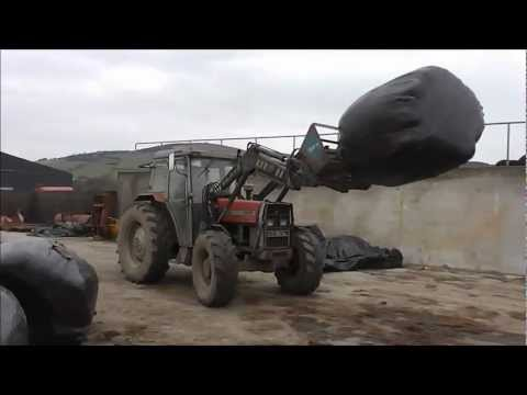 Drawing In Bales Of Rushes - Massey Ferguson 390 - Gopro + Drone