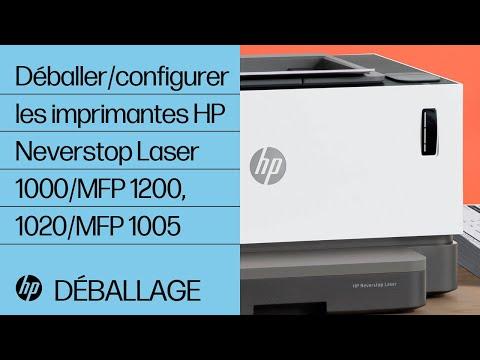 Comment déballer et configurer les imprimantes de la gamme HP Neverstop Laser 1000, multifonction 1200 et HP Laser NS 1020, multifonction 1005