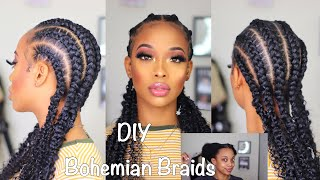 DIY BOHO  FEED IN BRAIDS!(Cheap Protective Style)- ft Dossier