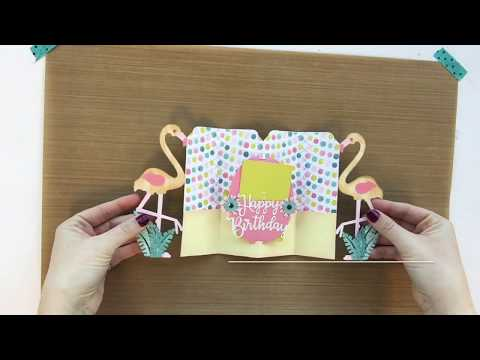 Happy Birthday Flamingo Fold-A-Long DIY Card
