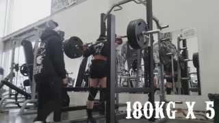 180kg/400lbs x 5 Squats @ 82kg (Kbooey)