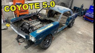TEST FITTING THE COYOTE 5.0 IN MY 1966 Ford Mustang