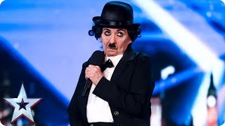 Lynda McMurray gets cheeky as Charlie Chaplin | Auditions Week 2 | Britain's Got Talent 2017