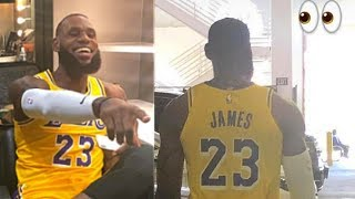 LeBron James Wears Lakers Jersey!