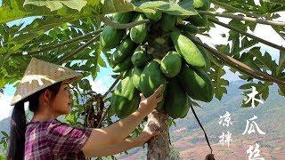 木瓜成熟后是水果,生的时候可做菜,凉拌木瓜丝你吃过吗?【滇西小哥】