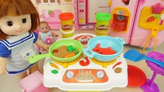 Play doh and Baby doll kitchen food cooking play