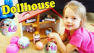 LOL Surprise Dolls Get A New Home Dollhouse - Ava Playing With a Doll House & Opening Surprise Balls