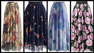 Floral-printed Net Fabric Long Maxi Skirts - Easy To Stitch Maxi Skirts Ideas - Skirts Style 2k20