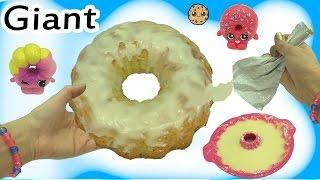 Barbie Kid + Shopkins Shoppies Doll Bake Giant Krispy Kreme Cake Donut - Cooking Video