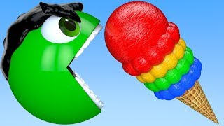 Learn Colors with PACMAN and SuperHero IceCream m&m Chocolate Farm Street Vehicle for Kid