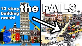 Lego Train Crash With Huge Skyscraper: The FAILS