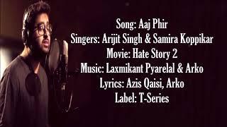 Aaj Phir (Lyrics) - Arijit Singh, Samira Koppikar   - YouTube