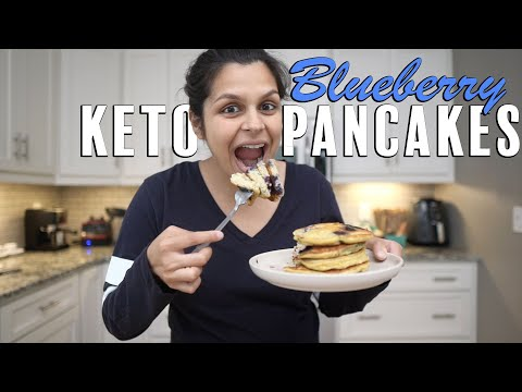Diner Style Keto Pancakes with Blueberries | The Best Keto Pancake Recipe