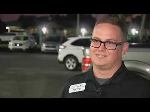 Video: Car flies over 12 vehicles at Florida dealership