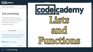 Codecademy Python Answers: Lists and Functions / Learn Python with Codecademy