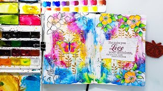 Easy Art Journal Background With Watercolors - Mixed Media Tutorial