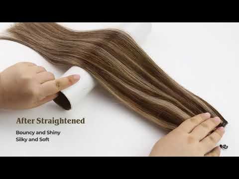 Full Shine Halo Human Hair Extensions Brown and Blonde Highlighted (#4/27)