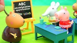 Escuela y juguetes de Peppa Pig - Fiesta de disfraces - Videos de juguetes en español