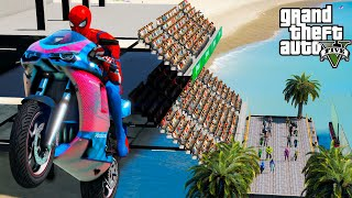 SpiderMan and other Superheroes Moto Jump GTA V MODS ! Спортивные байки и Супергерои !