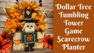 Fall Crafts: Dollar Tree Tumbling Tower Game Scarecrow Planter