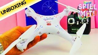 Quadcopter Q5C Arshiner Unboxing Deutsch - Flugdrohne mit HD - Kamera! Spiel mit mir Kanal