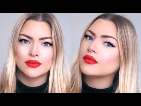 Classic Red Lip & Winged Eyeliner For Hooded Eyes