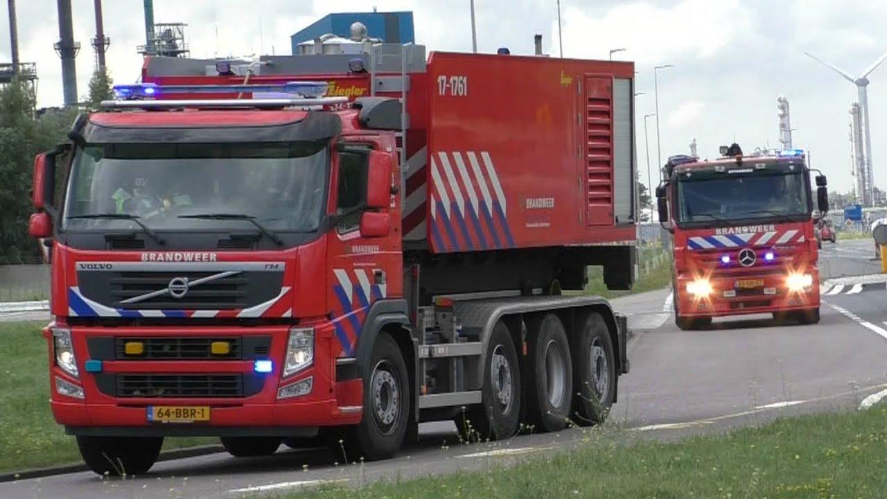 Vele Hulpdiensten met spoed naar Grote Schrootbrand Quebecstraat Botlek Rotterdam! (563)