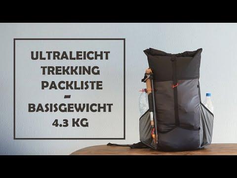 Ultraleicht Trekking Packliste - 4.3 kg Basisgewicht