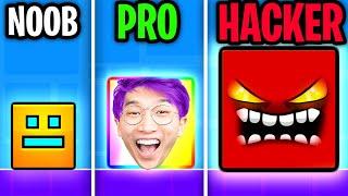 We Go NOOB vs PRO vs HACKER In GEOMETRY DASH! (JUSTIN RAGED!!)