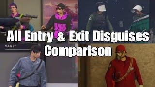 Gta Online Diamond Casino Heist The Big Con All Entry & Exit Disguises Comparison