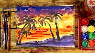 Закат на Море и Пальмы