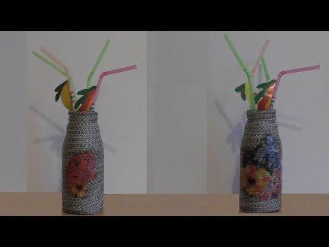 Bottle decor rope+decoupage / Декор бутылки верёвкой+декупаж