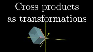"For anyone who wants to understand the cross product more deeply, this video shows how it relates to a certain linear transformation via duality.  This perspective gives a very elegant explanation of why the traditional computation of a dot product corresponds to its geometric interpretation.*Note, in all the computations here, I list the coordinates of the vectors as columns of a matrix, but many textbooks put them in the rows of a matrix instead.  It makes no difference for the result, since the determinant is unchanged after a transpose, but given how I've framed most of this series I think it is more intuitive to go with a column-centric approach.Watch the full ""Essence of linear algebra"" playlist here: https://goo.gl/R1kBdb------------------3blue1brown is a channel about animating math, in all senses of the word animate.  And you know the drill with YouTube, if you want to stay posted about new videos, subscribe, and click the bell to receive notifications (if you're into that).If you are new to this channel and want to see more, a good place to start is this playlist: https://goo.gl/WmnCQZVarious social media stuffs:Website: https://www.3blue1brown.comTwitter: https://twitter.com/3Blue1BrownPatreon: https://patreon.com/3blue1brownFacebook: https://www.facebook.com/3blue1brownReddit: https://www.reddit.com/r/3Blue1Brown"