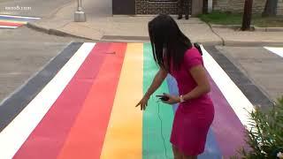 San Antonio LGBTQ pride crosswalk underway