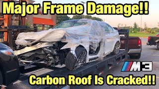 Buying Another Totaled wrecked 2017 BMW M3, Major Frame Damage Carbon Roof Cracked