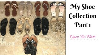 MY SHOE COLLECTION PART 1 WITH MOD SHOTS || OPEN TOE FLAT SANDALS || VALENTINO, FENDI, OFF WHITE ETC