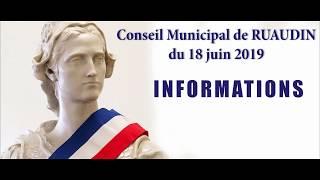 Conseil Municipal de Ruaudin du 18 juin 2019 en vidéo