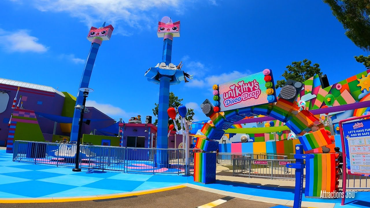 Unikitty's Disco Drop Tower Ride & The Lego Movie World New Land Tour Legoland California 2021