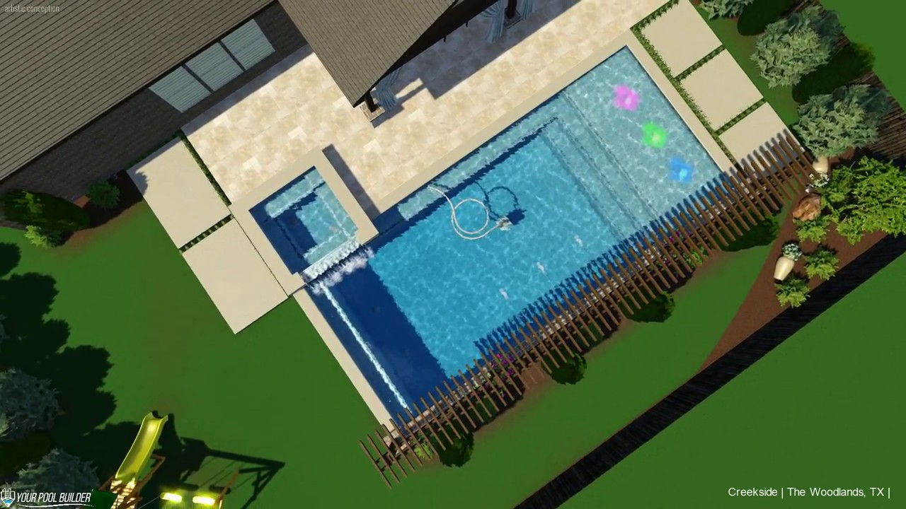 Creekside Village Park The Woodlands, TX | 3D Pool Design by Your Pool Builder of Texas