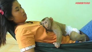 Lovely Family, Monkey Kako Feeling Good When Mom Grooming