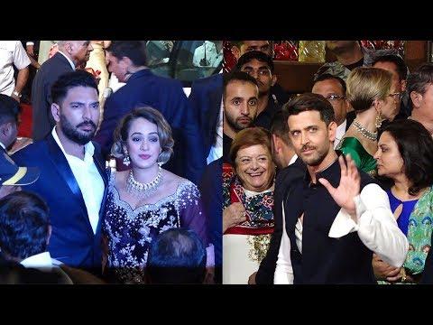 Yuvraj Singh With Wife Hazel And Hrithik Roshan At Wedding Of Isha Ambani