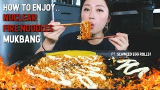 How to Enjoy 'NUCLEAR FIRE INSTANT NOODLES' Mukbang! (핵!불닭볶음면입니다!)