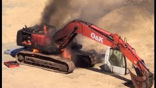Экскаватор в огне! Возгорание техники на работе.