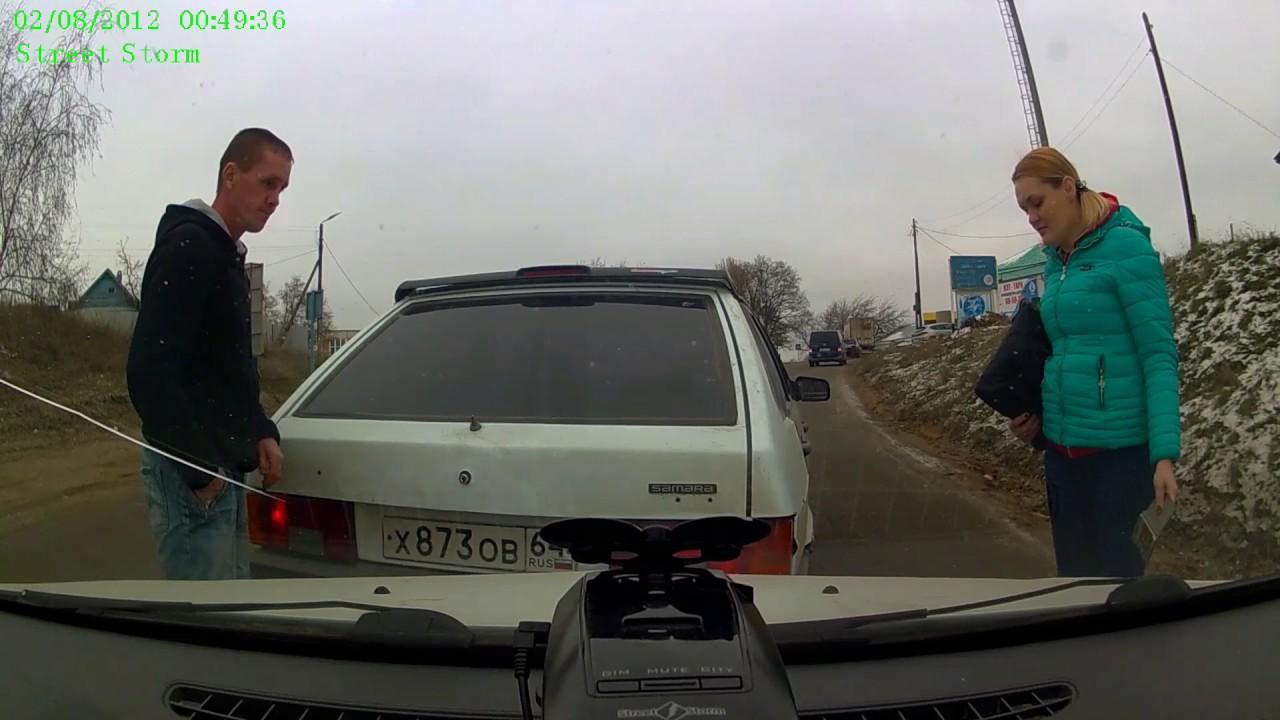 Попытка подставы или обыденная тупость водителя девятки