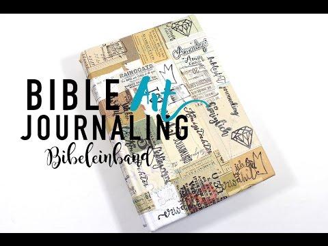 Bibeleinband mit Nähmaschine und vintage Papier