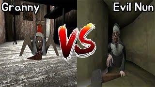 Granny vs Evil Nun || Jumpscare Battle || Horror Game - 그래니 vs 미친수녀 죽는장면 배틀