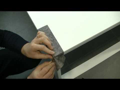 Klinger Möbelfolien, Schneidetechnik Ecken overlapt, richtig schneiden