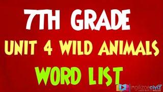 7.Sınıf 4.Ünite Wild Animals Kelimeler (Word List)
